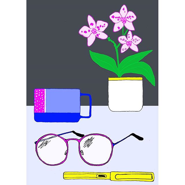 Messing around trying to stick my head back into riso. Testing testing - Work in progress. ---------------------------------- #glasses #illustration #inking #ink #orchid #flowers #workspace #studio #lamy #pen #mug #block #drawing #wip #testing #test #deskspace #desk #illustrator #printmaking #prep #playingaround #houseplant #plant #reading #object #stilllife #studiolife
