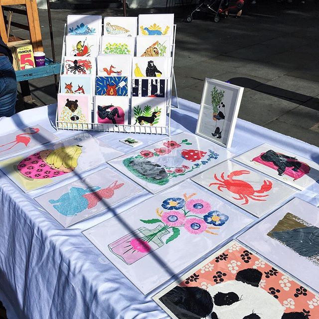 Suns out for first day's trading at portobello market. Here for the next 6 months! Lots of prints & cards and more in the pipe line to come. ---------------------- #print #printmaking #illustration #illustrator #wildlife #drawing #colourful #panda #flowers #moon #sunshine #portobello #rabbits #kidlitart #risoprint #screenprint #screenprinting #westlondon #alfresco #linoprint #greetingcards #mushroom #crab #bananas