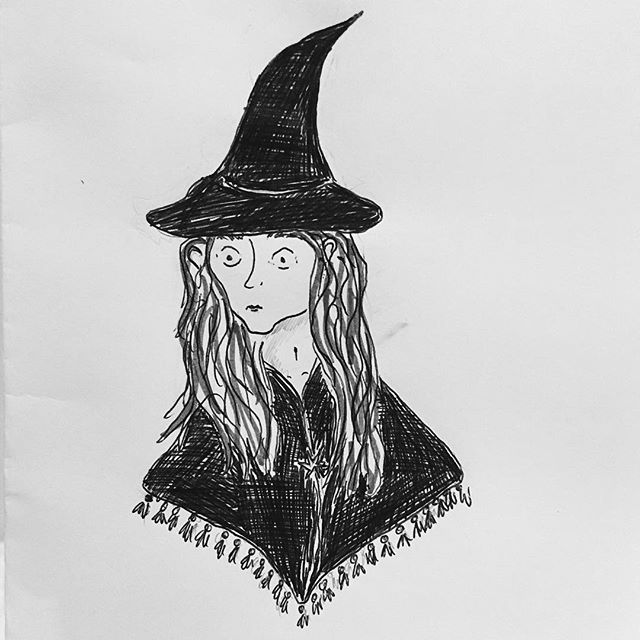 Inktober 2 - a mini witch - when the only time you have is on the tube and the only pen you have is a biro. --------------------- #witch #october #autumn #witcheshat #drawing #illustration #illustrator #portrait #girl #lady #magic #story #character #wip #kidlitart #childrensbookillustration #hat #tassles #inktober #drawingaday #sketch #sketching #sketchbook #biro #doodle