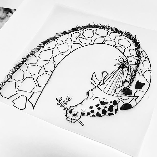 Not a firework. Giraffe. Scrabbling around with my pencils to get everything finished. . . . #monochrome #giraffe #nature #partyhat #ink #inking #illustration #kidlitart #wip #drawing #nature #wildlife #animals #partyhat #leaves #dotty #childrensbookillustration #firework #polkadots #character #linedrawing #sketch #sketching #sketchbook #blackandwhite