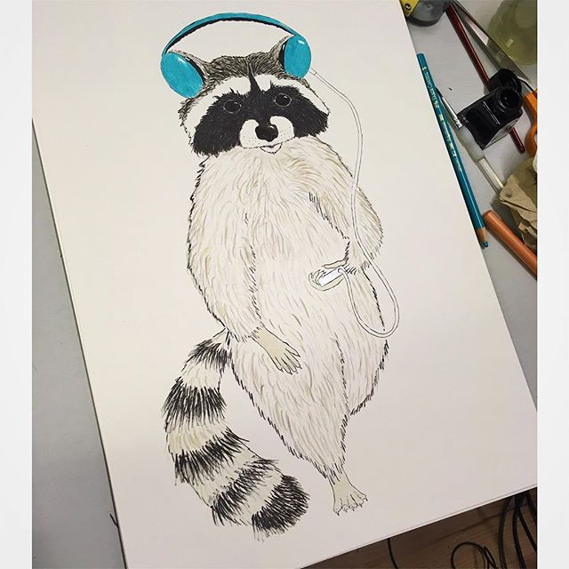 Slowly does it. Trash panda progress. Printmakers panic - So not used to doing originals - half the time spent freaking out with my brush hovering over the paper. . . . #trashpanda #monochrome #raccoon #petraccoon #stripey #wip #freakout #printmaker #original #ink #indianink #blackandwhite #nature #headphones #fluffy #belly #paws #illustrator #illustration #character