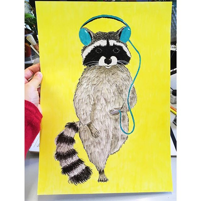 Raccoon dude finished & ready for his new home. . . . #trashpanda #monochrome #raccoon #petraccoon #stripey #wip #yellow #colour #printmaker #original #ink #indianink #blackandwhite #watercolor #colouringpencil #nature #headphones #fluffy #paws #illustrator #illustration #character