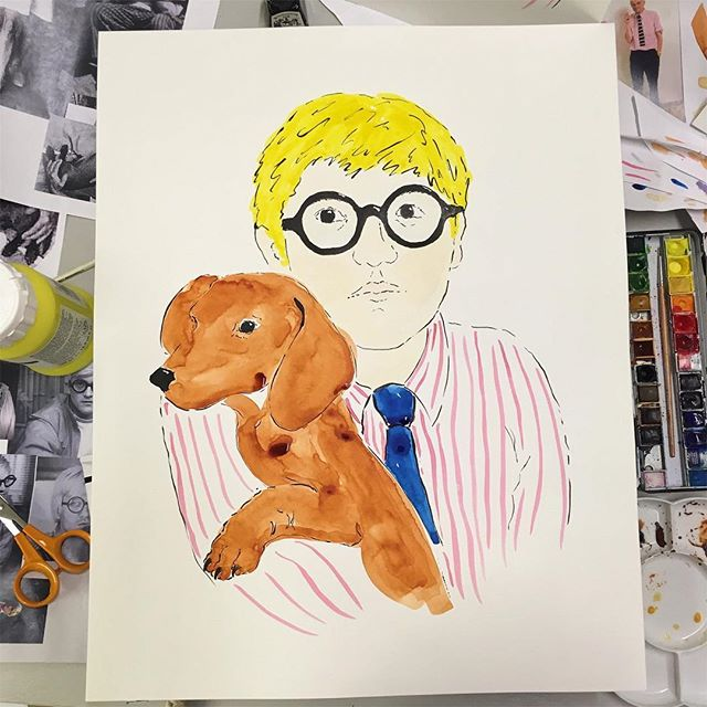 Painting Hockney remembering that when it comes to watercolours I have zero idea what I'm doing... . . . #davidhockney #hockney #watercolor #wip #dachshund #sausagedog #stripey #glasses #spectacles #paws #painting #illustration #illustrator #artist #icon #personality #painter #blonde #portrait