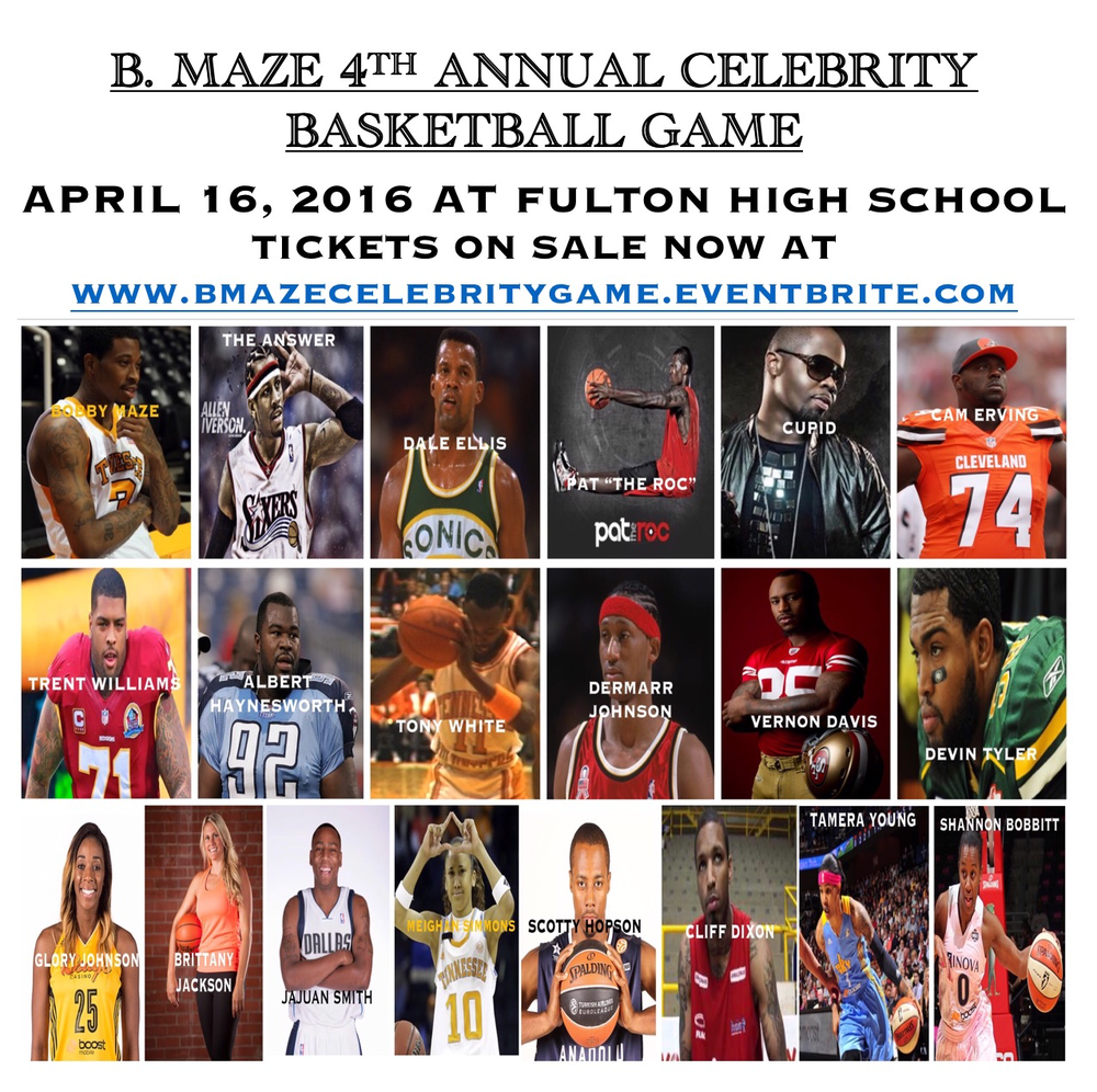 "Former Vol and professional athlete, Bobby Maze will host his 4th Annual Celebrity Basketball Game in Knoxville. This will be a night to remember as celebrities, including Allen Iverson, Trent Williams, Cam Erving, Albert Haynesworth face-off against one another in the highly anticipated game. Proceeds will benefit B. Maze Elite AAU Basketball Club. This event also holds sentimental value to Bobby Maze as it was established 4 years ago in memory of his cousin, friend, and basketball street legend, Jamar ""Silent"" Board, who tragically fell victim to senseless gun violence in 2012. We chose to hold this event at Fulton High School in hopes of using this celebrity event as a platform to shed light on gun violence and to honor the life and memory of Zaevion Dobson and make a contribution to the Long Live Zae Memorial Fund."