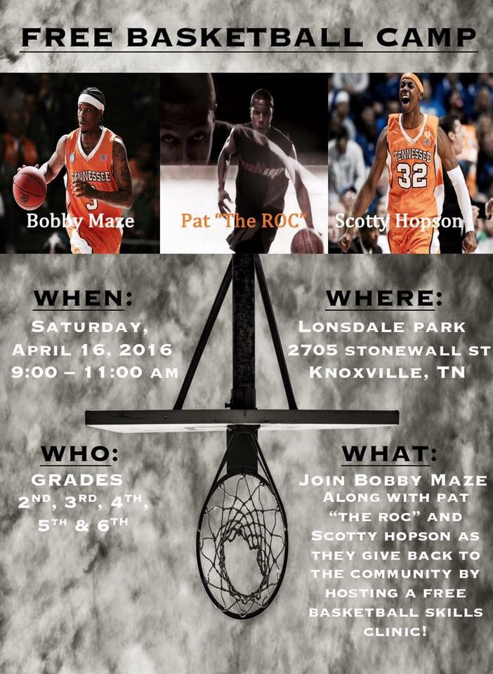 "Join Former Vol and professional athlete Bobby Maze as he teams up with the World's Greatest Ball-Handler, Pat ""The Roc"" and fellow Former Vol/Cleveland Cavalier, Scotty Hopson in an effort to give back to the inner city community of Knoxville to promote positivity and excitement in our youth while teaching them a few basketball skills at the same time."