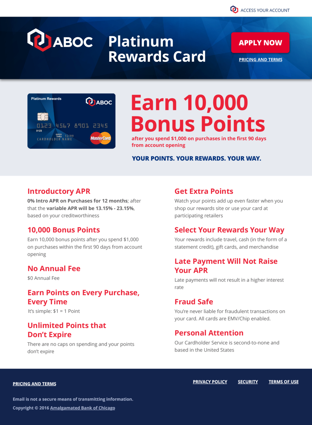 Landing page for platinum card