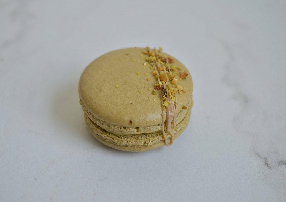 Pistachio: Pistachio. White Chocolate. Pistachio Butter. Pistachio. (DM)