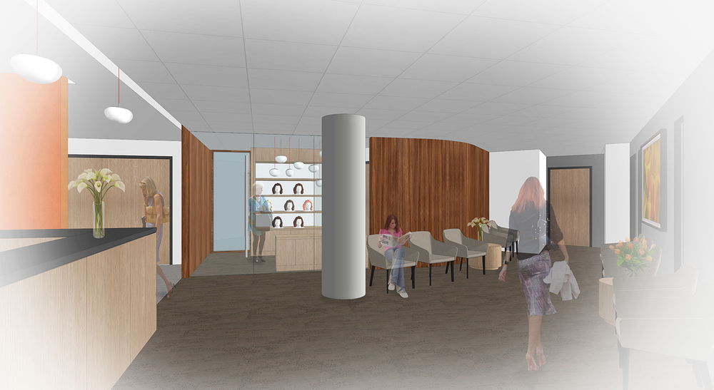 Architect's rendering of the new Breast Care Center's lobby.