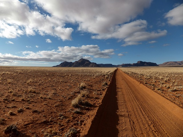 Namibia is tracked with long, lonely roads