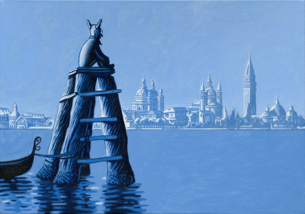 """Nimbus in Venice."" Oil on canvas, 20"" x 30"". Detail below:"