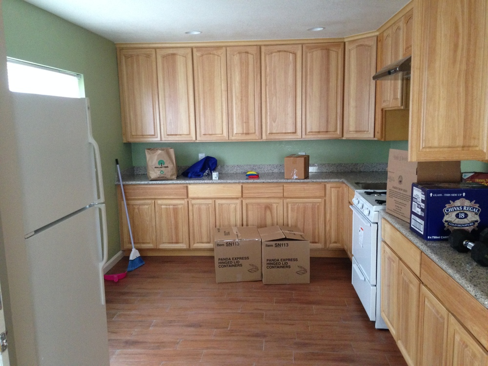 here's the kitchen that i'm moving into. i still can't believe that i'm moving into a house.