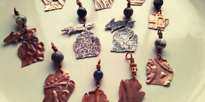Learn to saw and texture copper to make your own pendant. The copper is reclaimed/recycled sheet. Walk out with an awesome necklace on an adjustable silk cord!