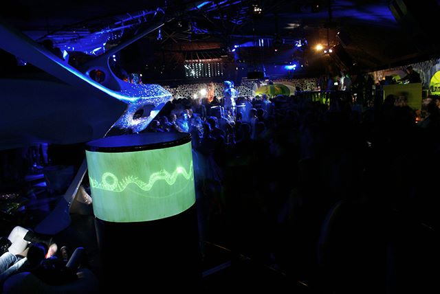 "Throwback: in 2012 my ""Snail Trail - Laser Sculpture"" won the first price at the Visual Music Awards. The price ceremony took place at the legendary Coocoon Club in Frankfurt, which was famous for its U.F.O.-like architecture. The club closed just a couple of weeks after the event. #coocoonclub #phosphorescence #visualmusicawards"