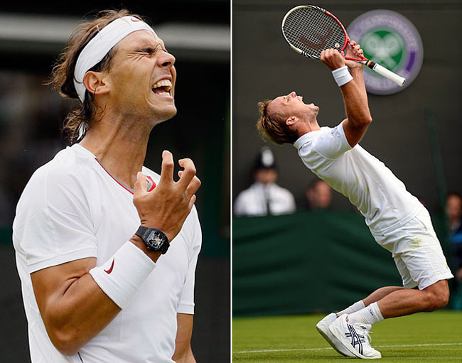 R. Nadal (left) and S. Darcis. Photo: Kirsty Wigglesworth/AP; Mike Hewitt/Getty Images