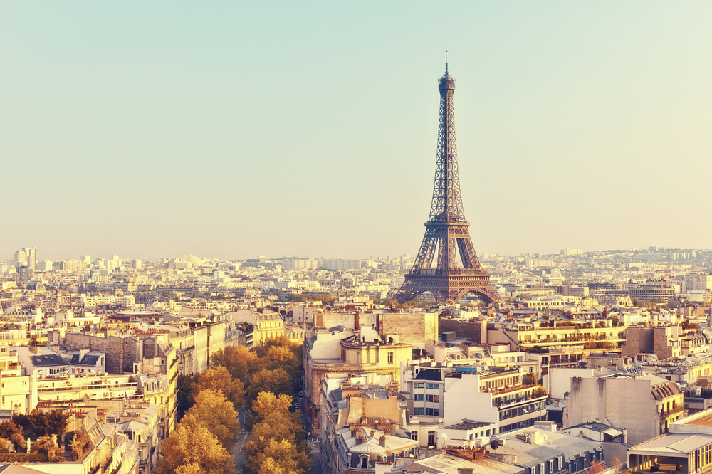View overlooking Paris, France and the Eiffel Tower