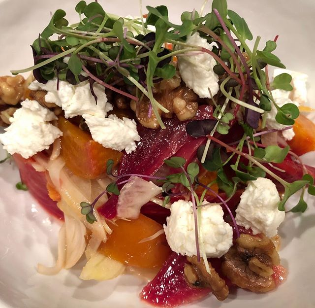 One of our favorite winter salads: roasted beets, shaved fennel, toasted walnuts, local chèvre, and grapefruit vinaigrette. #saucecatering #saucefoodtruck #saucemobilekitchen