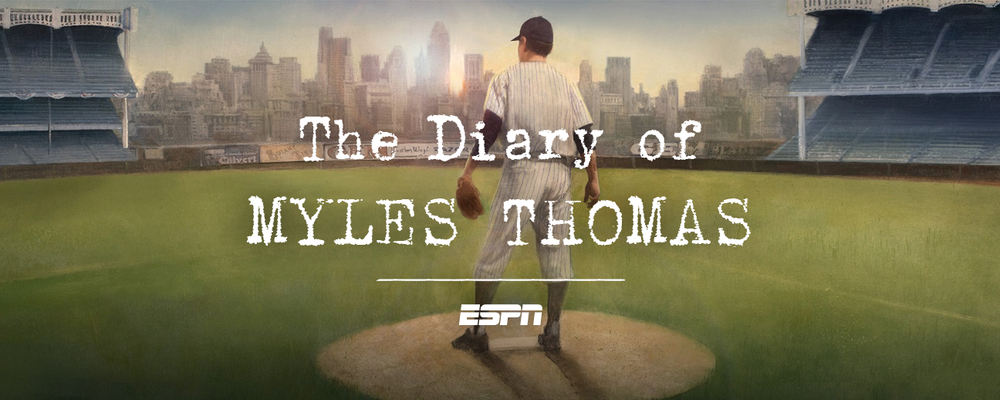 "Illustration by Robert Hunt      ESPN PRESENTS    1927: THE DIARY OF MYLES THOMAS  .  Written in the form of a diary authored by a pitcher on the fabled 1927 ""Murderers' Row"" New York Yankees,   1927: The Diary of Myles Thomas   explores the real-life nexus between baseball, jazz, and the criminal underworld that existed at the height of the Roaring Twenties, and details the social, racial and sexual insanity brought on by Prohibition.  The novel—and accompanying online presentation, featuring stunning photos and original artwork—chronicles the lives and adventures of Jazz Age entertainers and musicians, baseball immortals, bootleggers, gamblers, murderers, and Wall Street swindlers. Babe Ruth, Lou Gehrig, Al Capone, Arnold Rothstein, Louis Armstrong, Bix Beiderbecke, Artie Shaw and Barbara Stanwyck, all come together in Myles Thomas's intimate exploration of youth, greatness, morality, race, sex, and the meaning of heroes.  ""1927: The Diary of Myles Thomas"" can be experienced at  ESPN.com/1927 ."