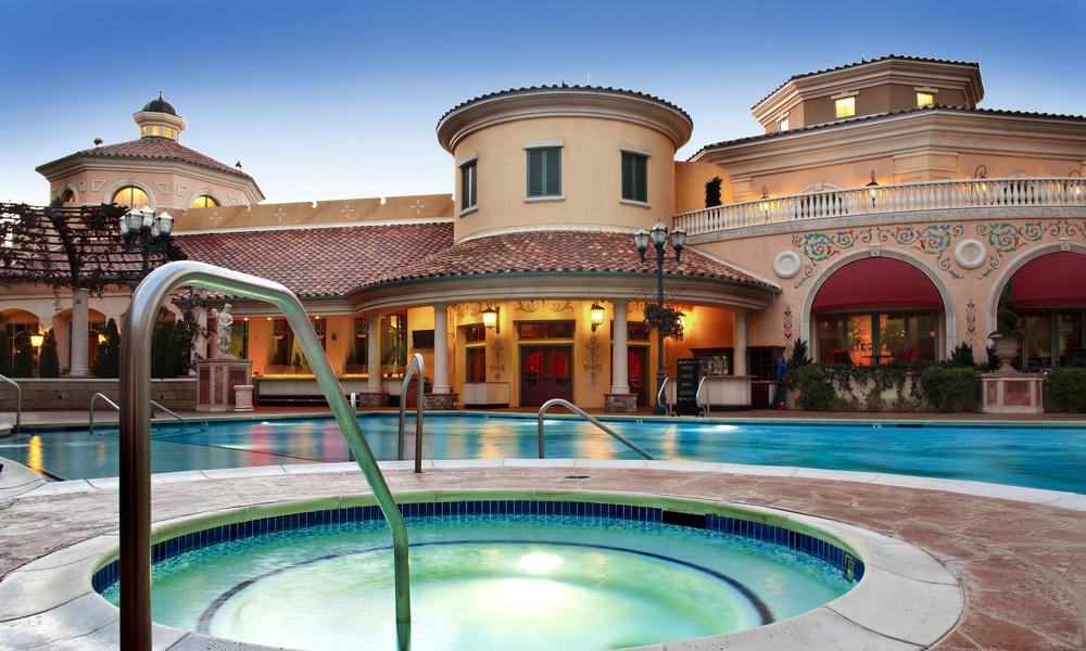 Relaxing heated pools