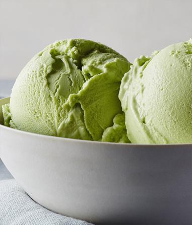bowl of matcha green tea ice cream