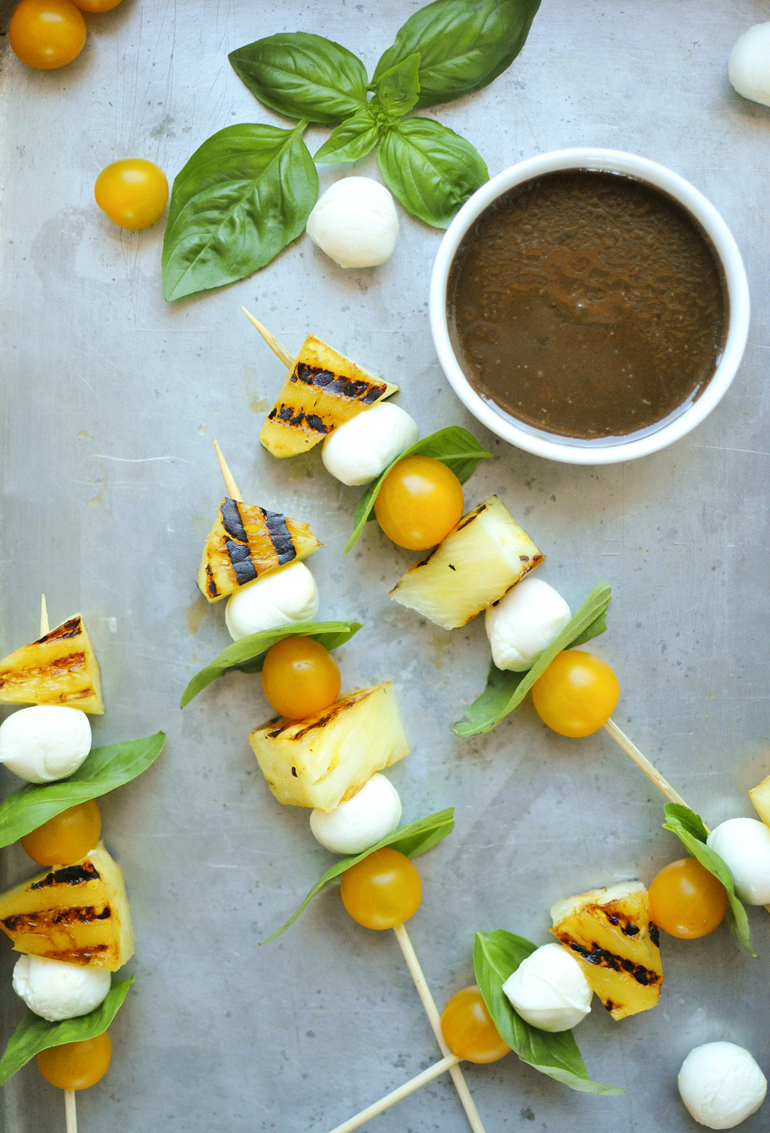 grilled pineapple caprese skewers with dipping sauce