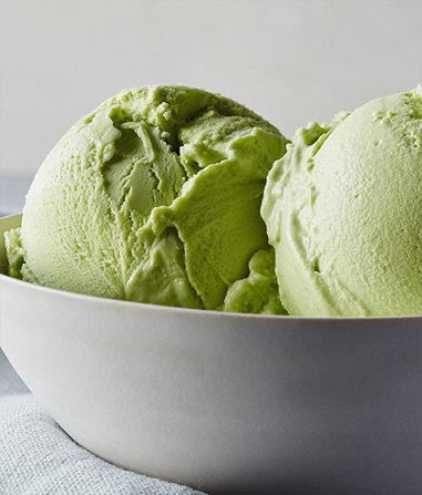 bowl of matcha green tea ice cream