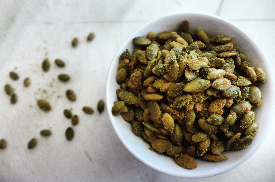 vegan toasted pumpkin seeds in bowl