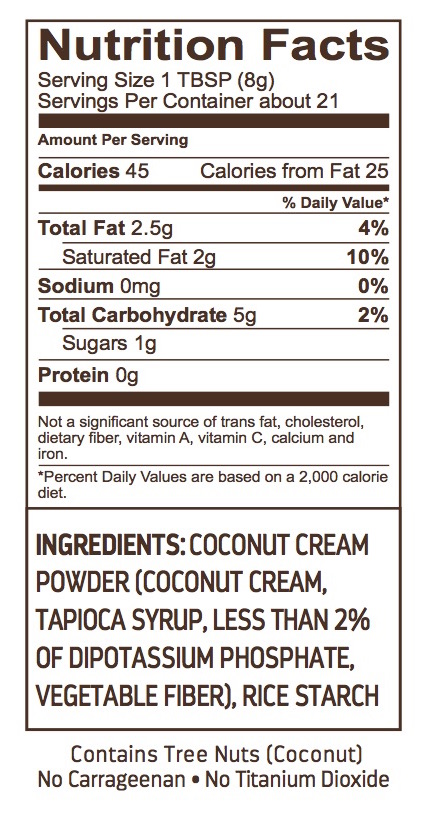dried coconut dairy-free creamer nutrition