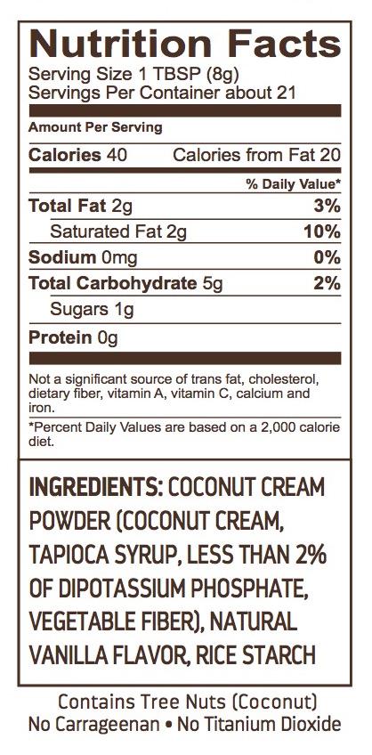 coconut creamer nutrional info