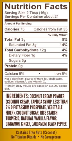 Turmeric Latte 12 oz Nutrition