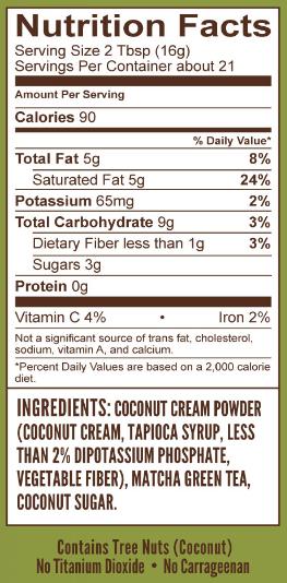 matcha green tea nutritional info