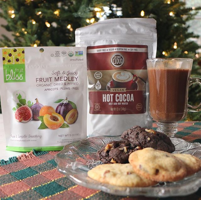 Holiday memories filled with cookies and cocoa dance in our head as we prepped for this festive giveaway with our friends over at @Fruit_Bliss.  Fruit Bliss organic dried fruit can be thrown into any cookie recipe for a fun, tasty twist on a classic, like sugar cookies with organic dried apricots or double chocolate cookies with some organic figs and walnuts.  Just like our Coconut Cloud's Hot Cocoa mix that is vegan, gluten-free, and soy-free is a cozy and delicious twist on a holiday classic.  Find out how to enter to win a Fruit Bliss Sampler Pack & Coconut Cloud Hot Cocoa [xx prize] below!  1 – Follow @Fruit_Bliss and @Coconut.Cloud  2 – Tag a friend below and tell us your favorite holiday treat! *(each friend and treat is an entry)* There will be two winners, one picked by Fruit Bliss and us, so make sure to enter on both accounts!  This giveaway is not endorsed by Instagram. Giveaway will end 11:59 pm PST 12/6 and winner will be randomly selected on 12/7.