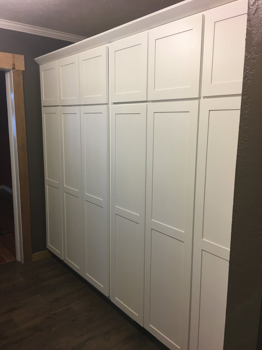 Amish custom made cabinets in a pantry