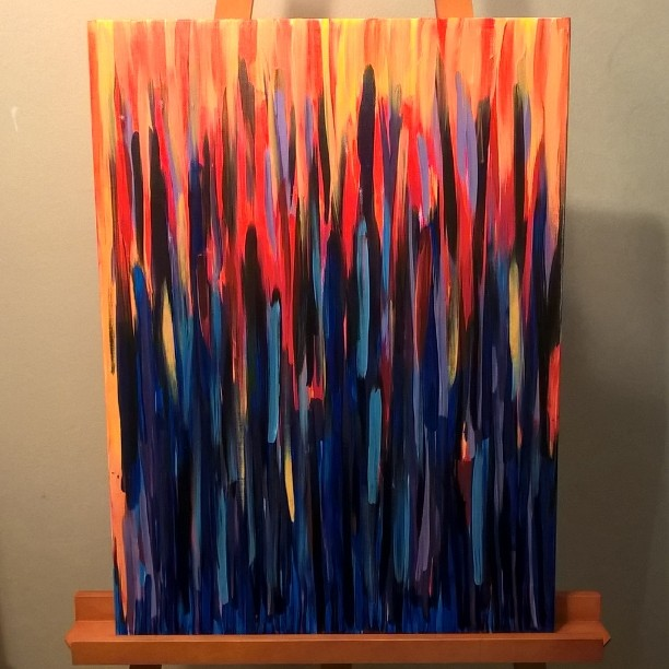 """""""Fire turning into rain"""", Acrylic on canvas, 18 x 24.#laart #dtla #artwalk #abstract #artgallery #artist #instaart"""
