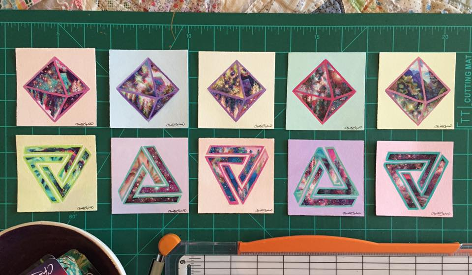 "3"" x 3"" minis for Rosette Studios Miniature Art Show, February 2018"