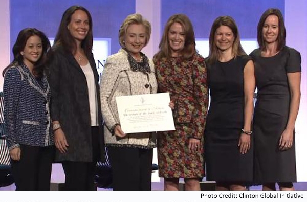 Hillary Clinton and Bay Area Co-founder & CEO of WAKE, Trish Tierney (far right) at the Clinton Global Initiative