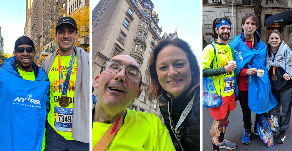 Above:    Happy NYC Marathon Finishers    (L to R): Eric Strong of Achilles Charlotte with guide; Harry McKinstry of Achilles CT with Ellie, and George Pacacha flanked by guides Michelle Fargnoli and Philip Asaro.