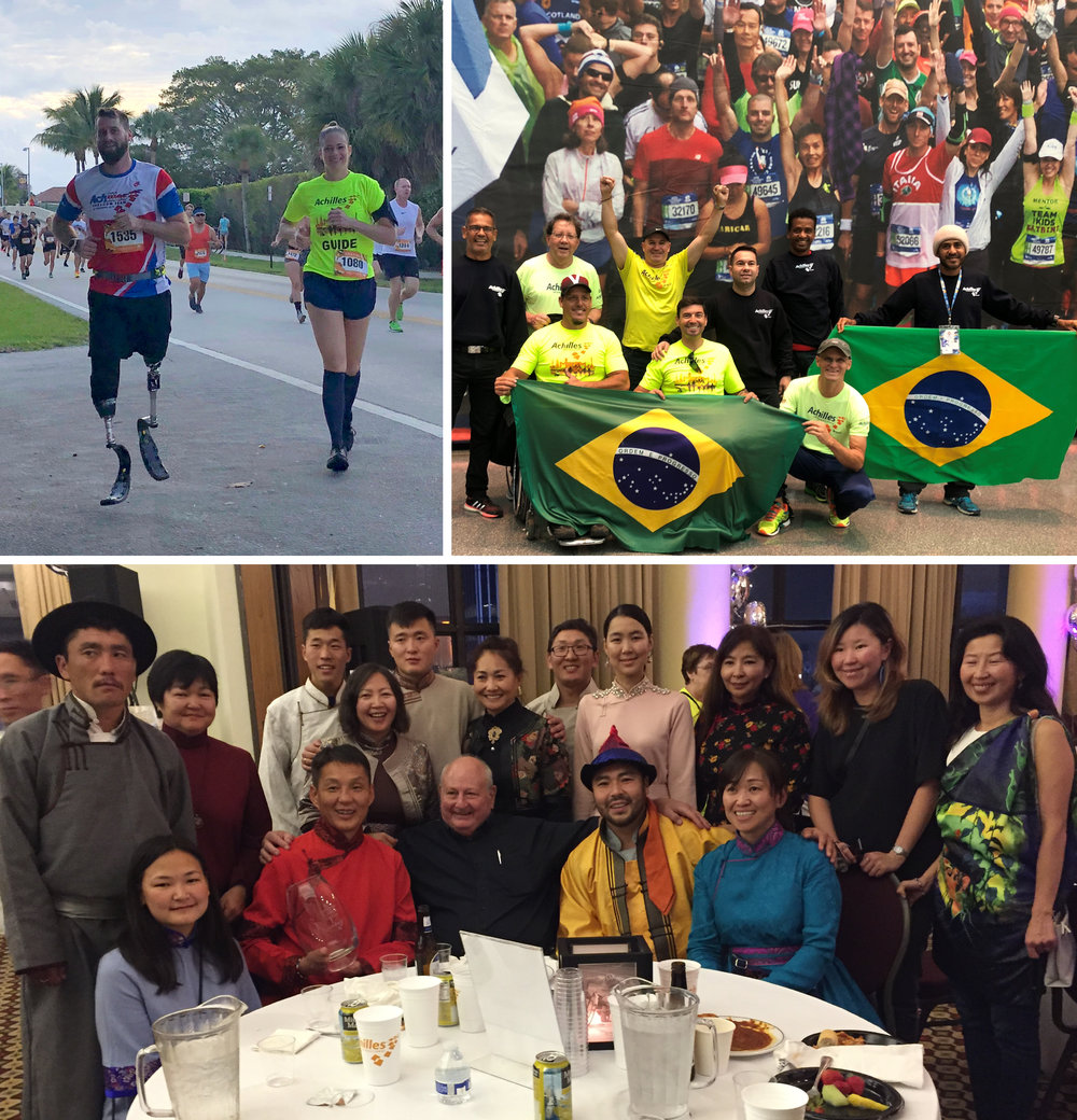 Clockwise from Top Left: Stefan LeRoy represents Achilles South Florida at the 2018 Turkey Trot; Achilles Brazil at the NYC Marathon; Achilles Mongolia at the Friday Night Awards Dinner.