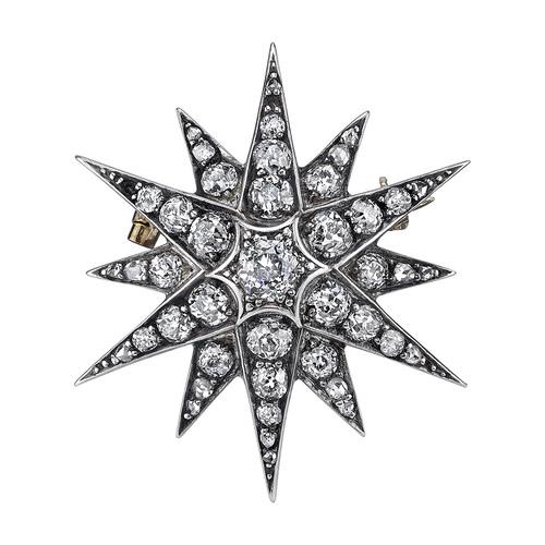 An elegant antique diamond star pendant brooch sparrow jewels an elegant antique diamond star pendant brooch mozeypictures Choice Image