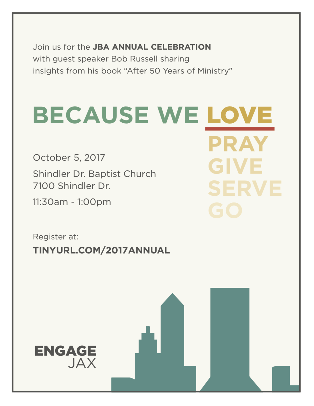 Delicious food, amazing speaker and great fellowship...you don't want to miss this!! Register here:  tinyurl.com/2017Annual