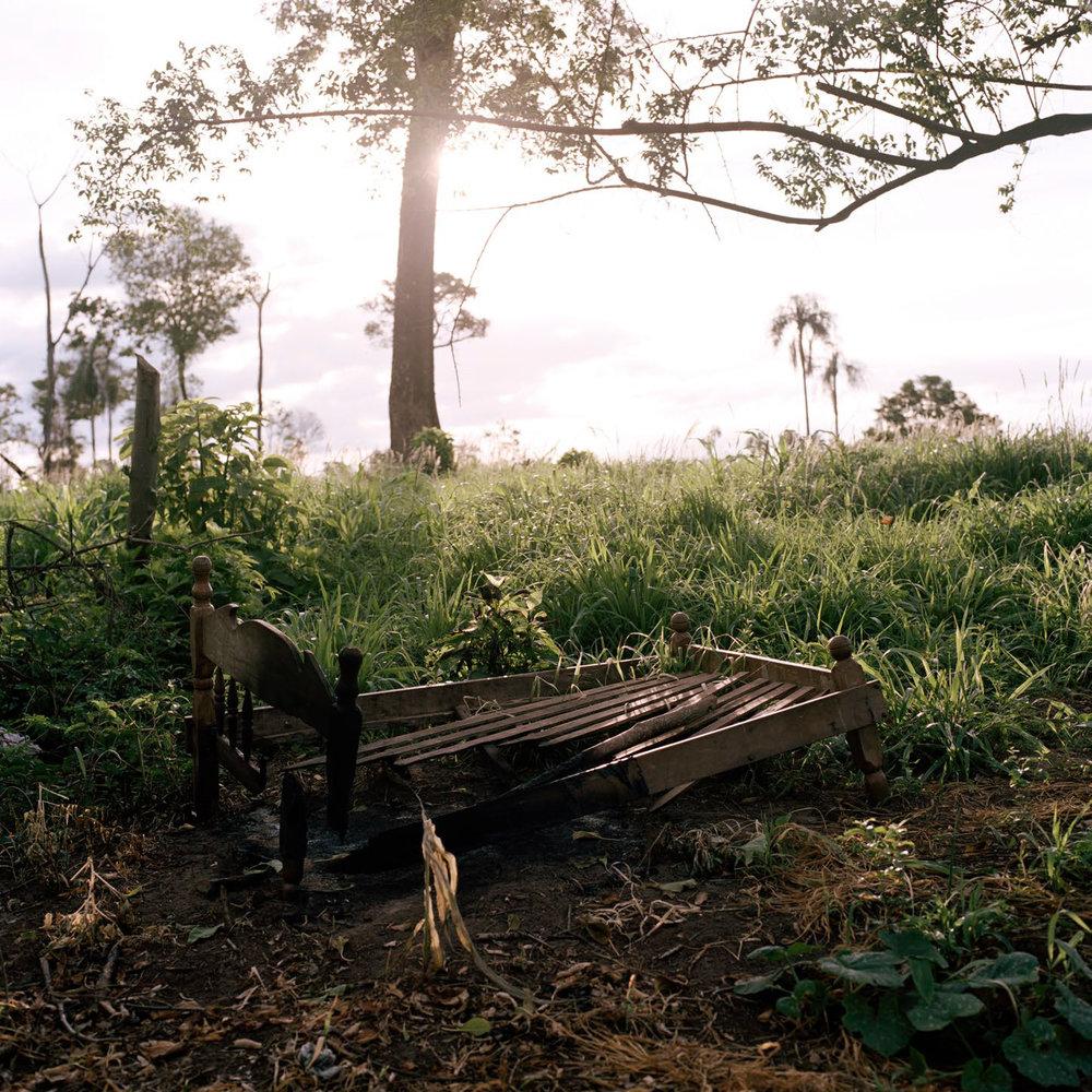A burned bed in Guayaqui Cuá.