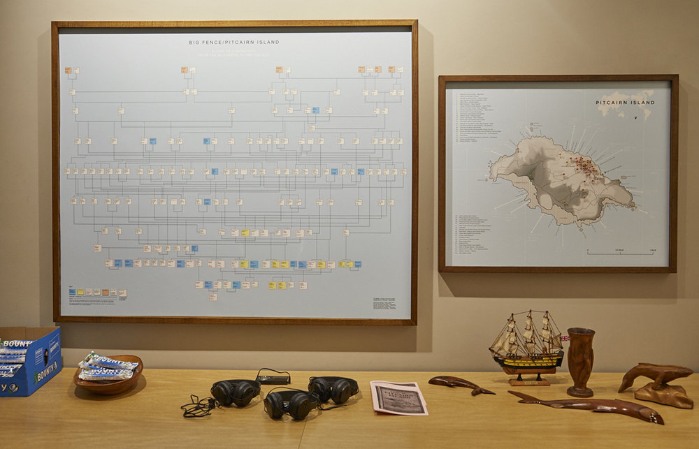 Big Fence / Pitcairn Island, an exhibition by Rhiannon Adam of work and objects from the remote island of Pitcairn, home to the descendants of the Bounty Mutiny.
