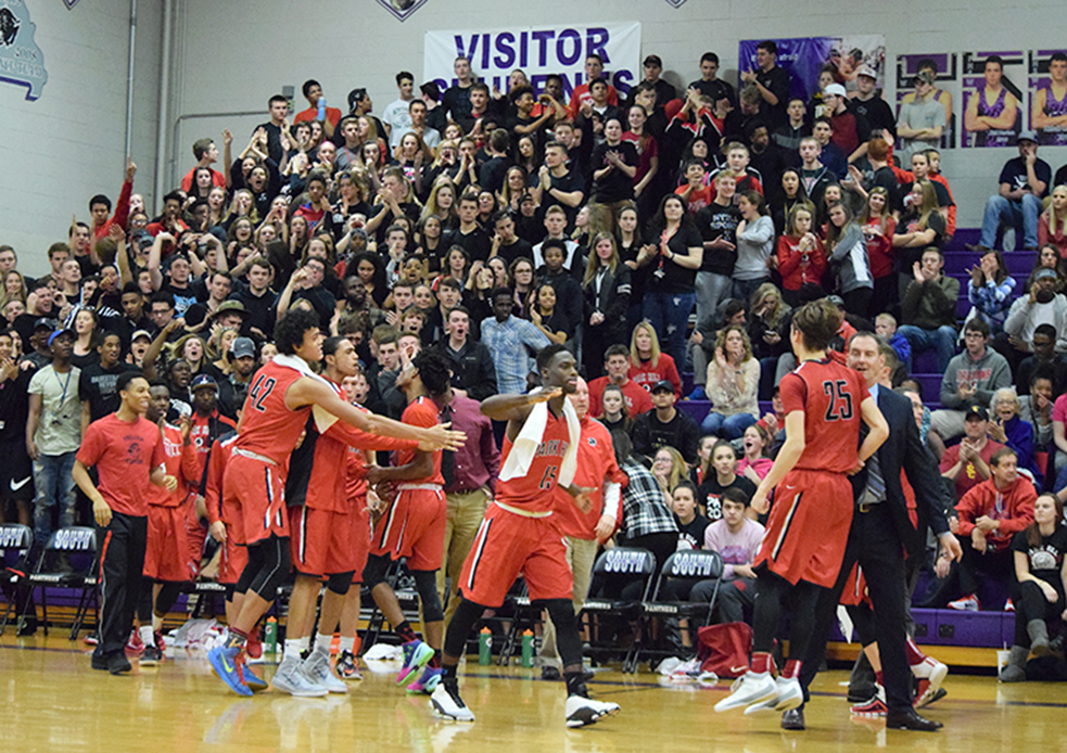 BRYCE MERENESS/Citizen photo The Park Hill bench and crowd react after taking the lead back from Park Hill South late in the fourth quarter of a Suburban Conference Red Division matchup on Friday, Jan. 29 at Park Hill South High School in Riverside, Mo. Park Hill won the game 66-61 to snap a streak of four straight losses against its chief rival.