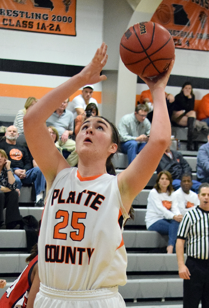BRYCE MERENESS/Citizen photo Platte County senior forward Rachel Holden (25) goes up for a shot against Raytown South on Thursday, Jan. 14 at Platte County High School.