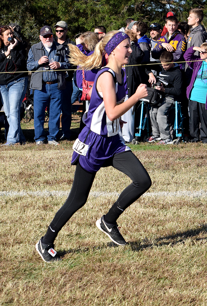 North Platte sophomore McKenna Fulton runs during the Class 1 Missouri State Cross Country Championships on Saturday, Nov. 7 at Oak Hills Golf Center in Jefferson City, Mo.