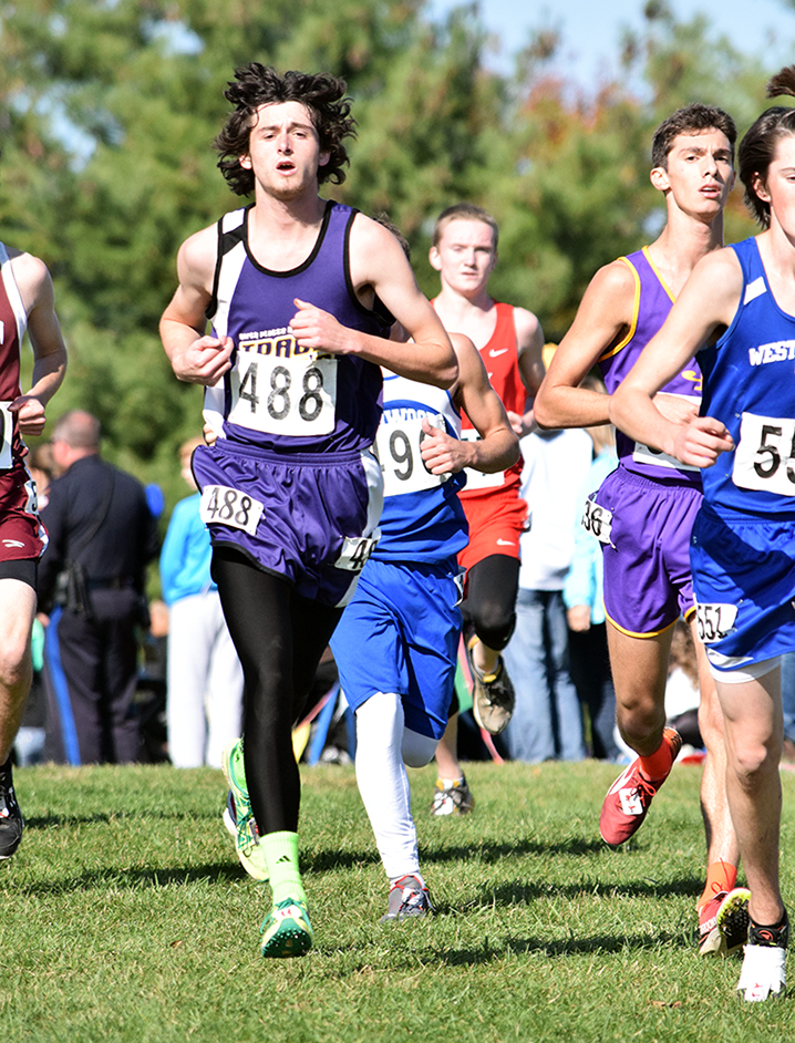 BRYCE MERENESS/Citizen photo North Platte senior Dylan Stockman runs in a pack during the Class 1 Missouri State Cross Country Championships on Saturday, Nov. 7 at Oak Hills Golf Center in Jefferson City, Mo.