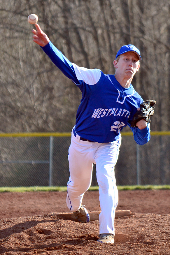 BRYCE MERENESS/Citizen photo West Platte pitcher Kyle Howerton delivers a pitch against Sumner Academy on Saturday, March 28 at Benner Park in Weston, Mo.