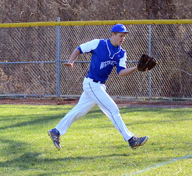 BRYCE MERENESS/Citizen photo West Platte junior rightfielder Brett Shepardson makes a catch during the West Platte Invitational on Saturday, March 28 at Benner Park in Weston, Mo. The Bluejays defeated Sumner Academy 7-2 in the game to claim their home championship for the first time since 2013.