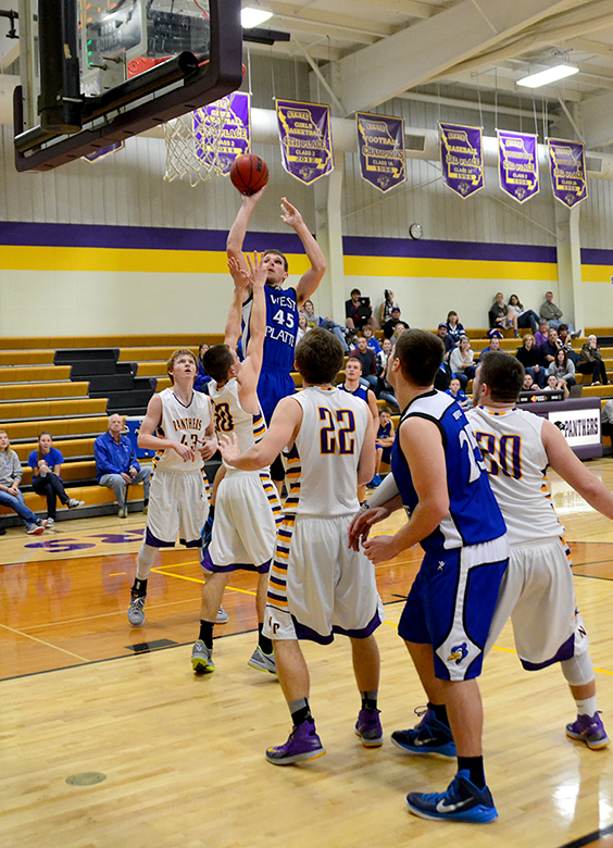 BRYCE MERENESS/Citizen photo West Platte forward Conner Salmons (45) attempts a shot against North Platte in the opening round of the North Platte Invitational on Monday, Jan. 26 at North Platte High School in Dearborn, Mo.