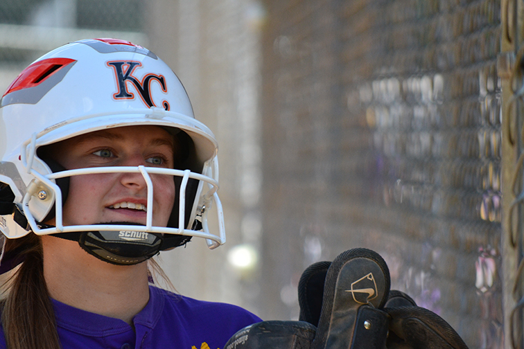 BRYCE MERENESS/Citizen Photo North Platte senior outfielder Regan Nash smiles near the dugout during the Sept. 27 Mid-Buchanan Tournament in St. Joseph, Mo.