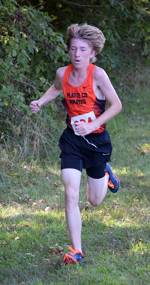 BRYCE MERENESS/Citizen photo Platte County freshman Jackson Letcher, runs in the shade at the Liberty Invitational held Saturday, Sept. 5 at Stockdale Park in Liberty, Mo.